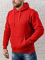 Мужская толстовка с капюшоном теплая красная худи,  кофта, кенгурушка / ОСЕНЬ-ЗИМА