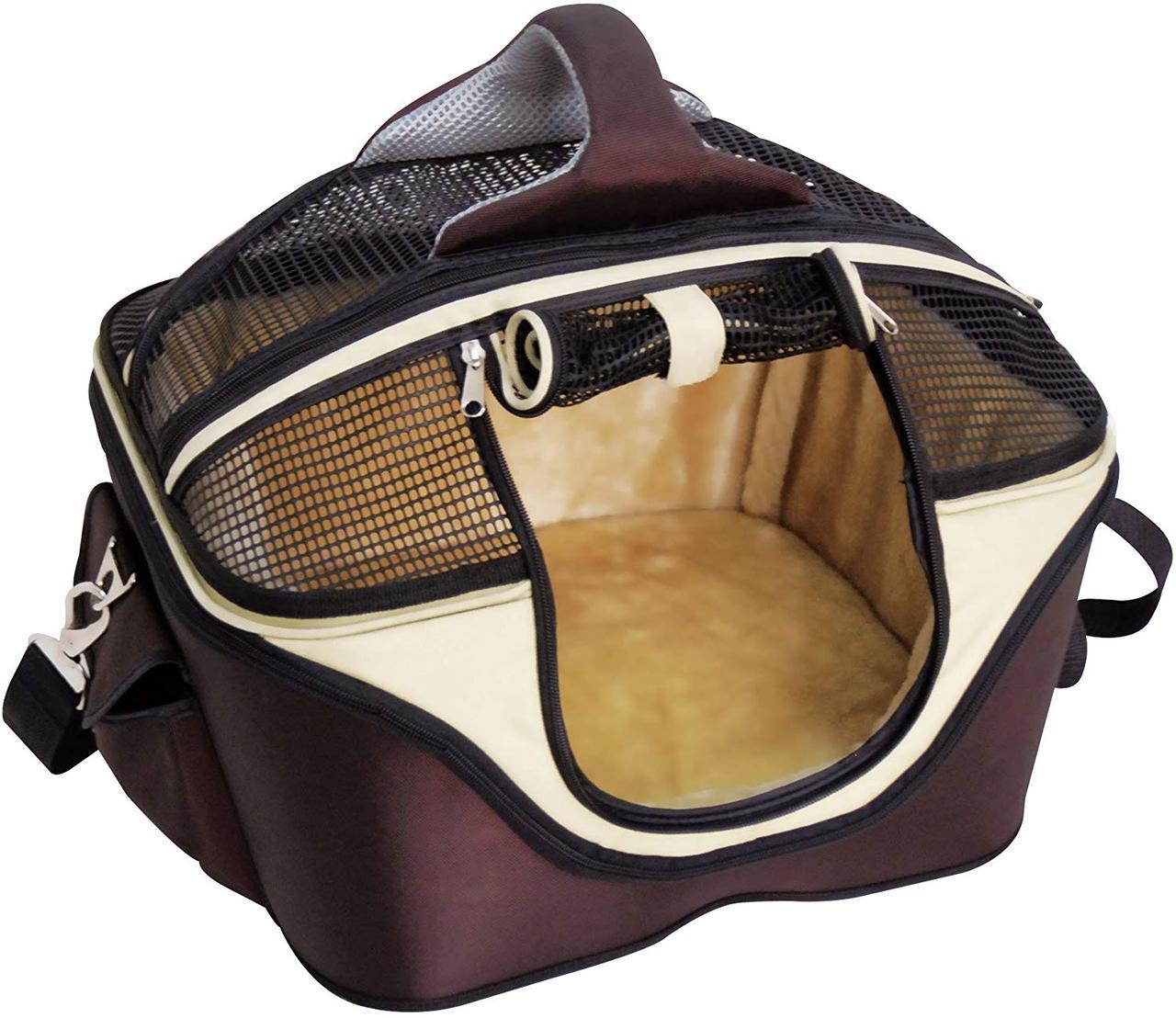 Сумка-лежак для собак и котов Fast&Easy,  удобно для выставок, корчневый/бежевый, 49х40х35см, до 12кг