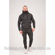 Теплый мужской спортивный костюм с лампасами серого цвета,размеры:44,46,48,50,52.
