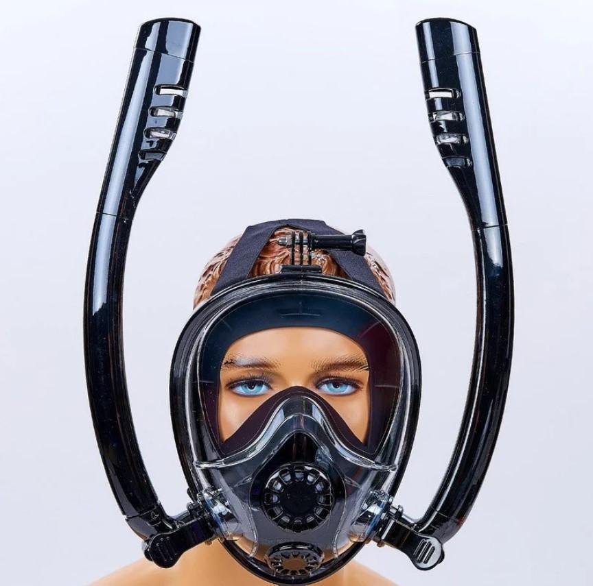 Маска для плавания и снорклинга с дыханием через нос с  двумя трубками (542187845)