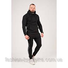 Мужской теплый спортивный костюм с лампасами черного цвета,размеры:44,46,48,50,52.