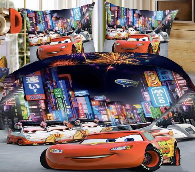 Полуторный размер постельное белье «тачки Маквин в ночном городе»