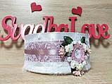 Свадебное сито Monogram. Цвет пудра., фото 3