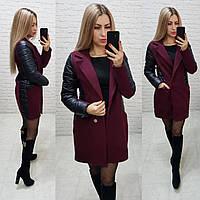 Пальто кашемир арт. 821/1 чёрный + марсала / чёрный и бордо