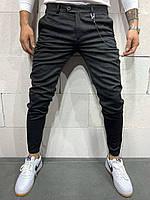 Плотные брюки черные мужские с плотного материала зауженные к низу Турция