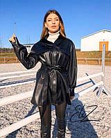 Рубашка женская удлиненная эко кожа 42-44 46-48