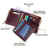Гаманець шкіряний чоловічий. Портмоне гаманець з натуральної шкіри (чорний), фото 5
