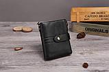 Гаманець шкіряний чоловічий. Портмоне гаманець з натуральної шкіри (чорний), фото 2