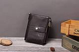 Гаманець шкіряний чоловічий. Портмоне гаманець з натуральної шкіри (чорний), фото 3