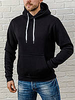 Мужская толстовка с капюшоном, теплая черная худи, кофта, кенгурушка / ОСЕНЬ-ЗИМА