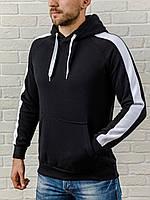 Черная мужская толстовка с капюшоном, теплая худи с лампасами, кофта, кенгурушка / ОСЕНЬ-ЗИМА