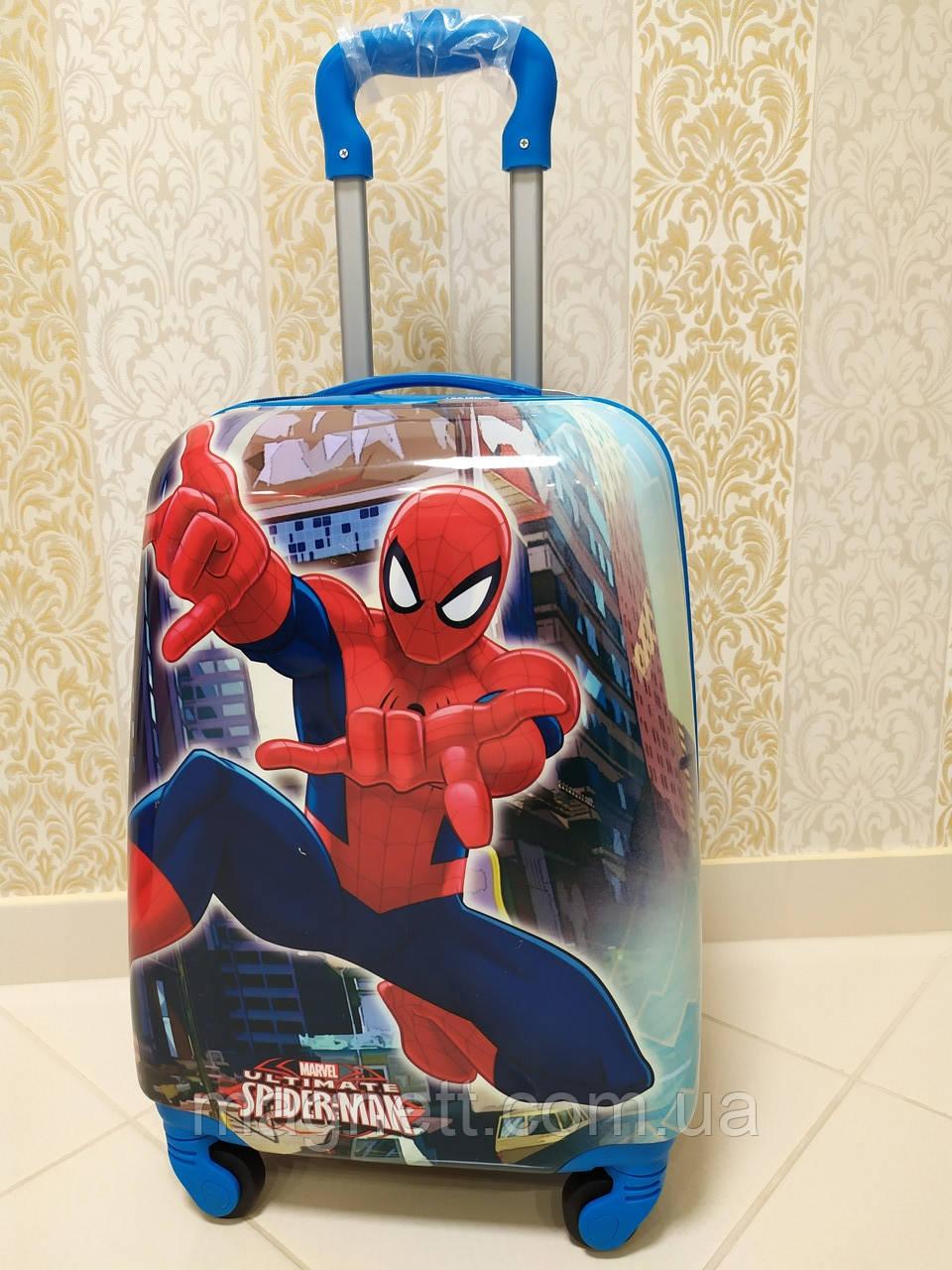 """Детский чемодан на 4 колесах для мальчика """"Человек Паук""""  45*31*21"""