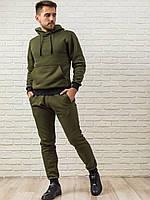 Теплый мужской спортивный костюм хаки (оливковый), худи с капюшоном и мужские теплые спортивные штаны