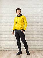 Теплый мужской спортивный костюм, желтая худи с капюшоном и мужские теплые спортивные штаны (цвет на выбор)