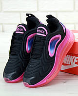 Женские кроссовки Nike Air Max 720 Black/Pink (Найк Аир Макс 720)