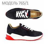 Мужские кроссовки черные на контрастной подошве и со вставками из сетки SAMAS 765/1
