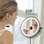 Зеркало для макияжа с подсветкой и 10X увеличением 360°, фото 2