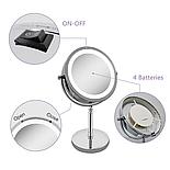 Зеркало для макияжа с подсветкой и 10X увеличением 360°, фото 5