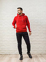 Теплый мужской спортивный костюм, красная худи с лампасами и теплые спортивные штаны (цвет на выбор)