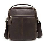 Мужская сумка через плечо Натуральня кожа Барсетка Мужская кожаная сумка для документов планшет Коричневая, фото 4