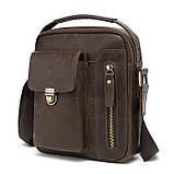 Мужская сумка через плечо Натуральня кожа Барсетка Мужская кожаная сумка для документов планшет Коричневая, фото 3