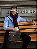 Мужская сумка через плечо Натуральня кожа Барсетка Мужская кожаная сумка для документов планшет Коричневая, фото 9