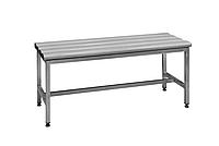 Скамейка металлическая в раздевалку из нержавеющей стали С-1000НЖ 1000х375хH455 с пластиковыми сидениями