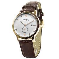 ✸Кварцевые часы SWIDU SWI-018 Brown + White нержавеющая сталь механические наручные для мужчин