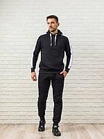 Теплый мужской спортивный костюм, черная худи с лампасами и теплые спортивные штаны (цвет на выбор)