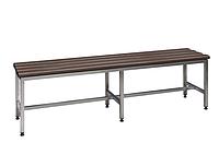 Скамейка металлическая в раздевалку из нержавеющей стали С-1500НЖ 1500х375хH455 с пластиковыми сидениями