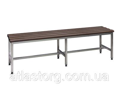 Лавка металева в роздягальню з нержавіючої сталі З-1500НЖ 1500х375хН455 з пластиковими сидіннями