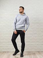 Теплый мужской спортивный костюм, серая худи и теплые спортивные штаны (цвет на выбор)