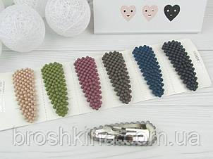 Заколки для волос имитация жемчуга 7.5 см цветные матовые 6 шт/уп.