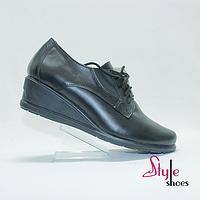Шкіряні туфлі на танкетці жіночі, фото 1