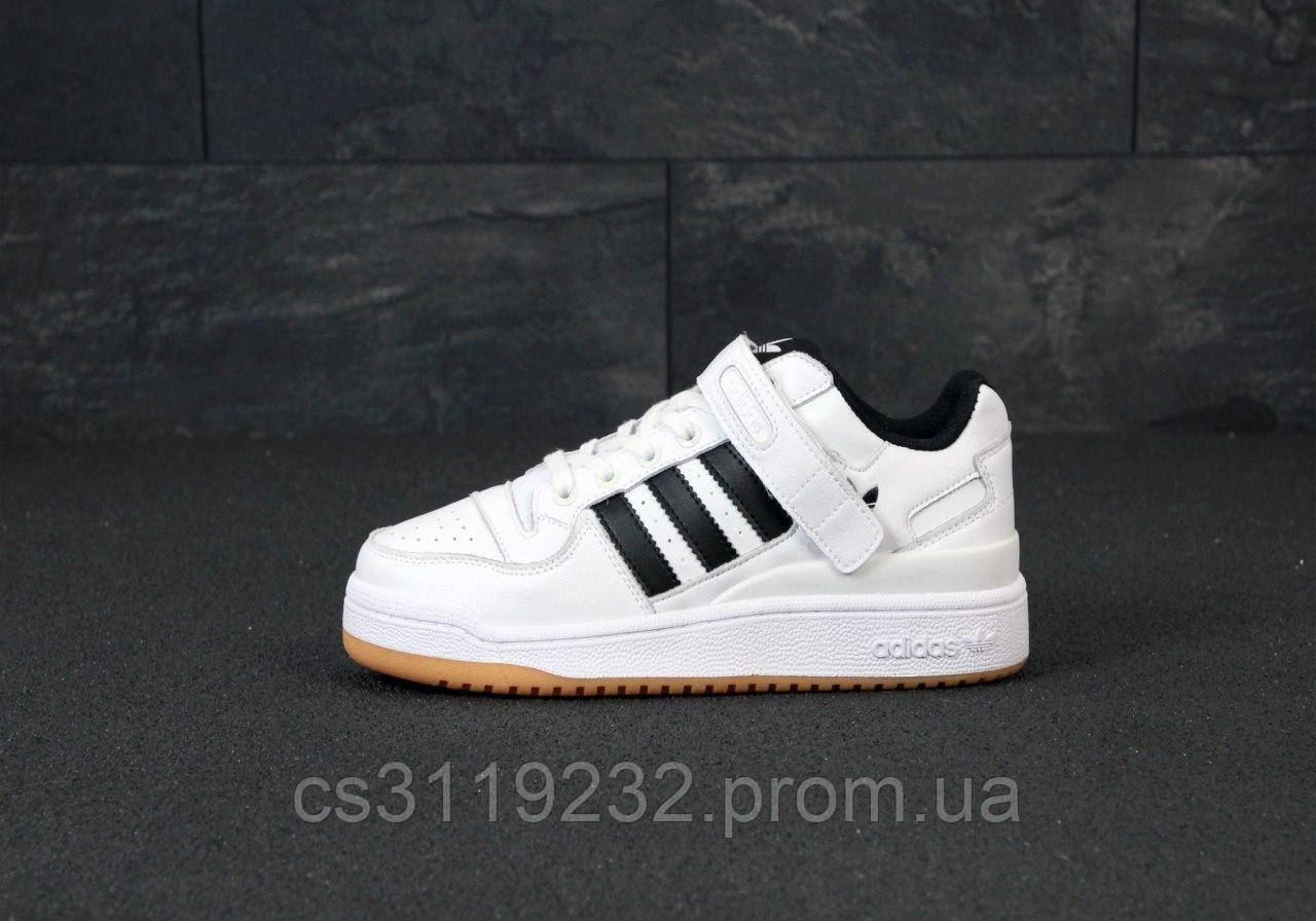 Мужские кроссовки Adidas Forum Mid White Black (белые)