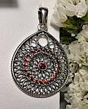 Срібний каплевидний підвіс з червоним цирконом Венеція, фото 2