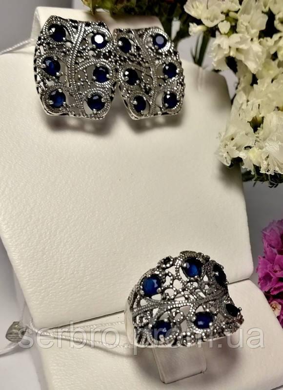 Гарнитур в серебре с синим цирконом Касабланка