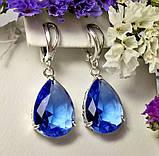 Серебряные сережки с подвесом и синим цирконом Агата, фото 2