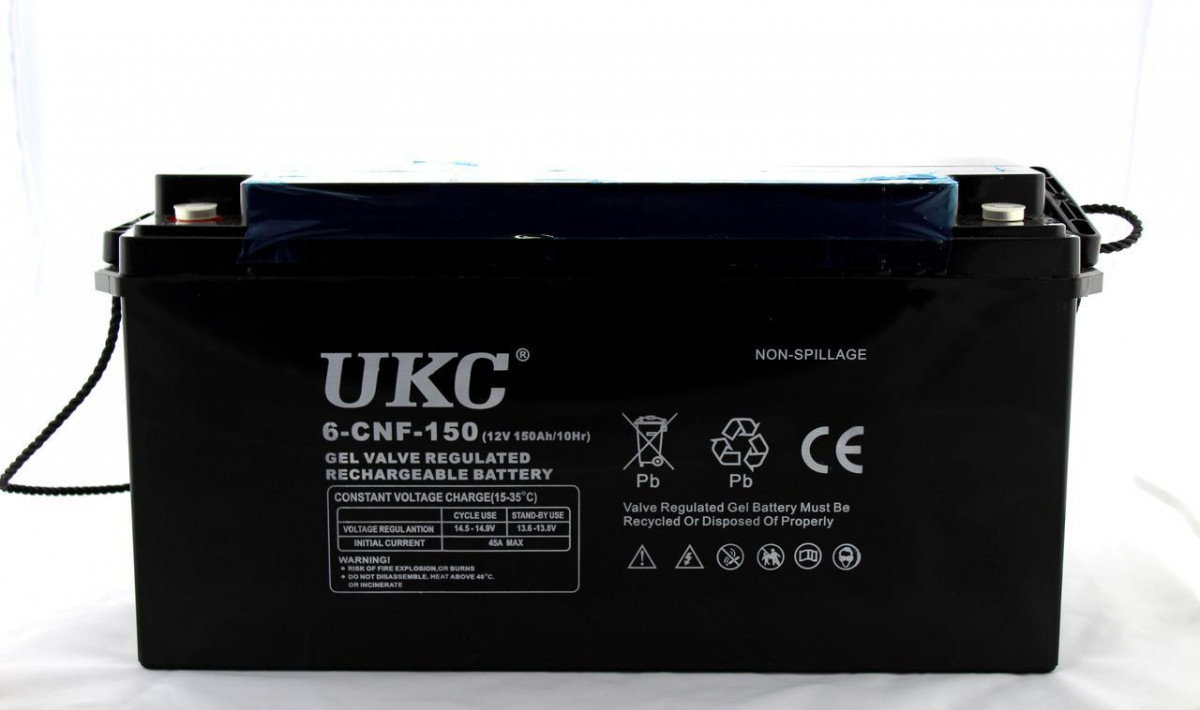 Гелиевый аккумулятор BATTERY 12V 150A  (Реальная ёмкость -40% = 90А)