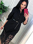 Женское платье-рубашка с кружевом (в расцветках), фото 4