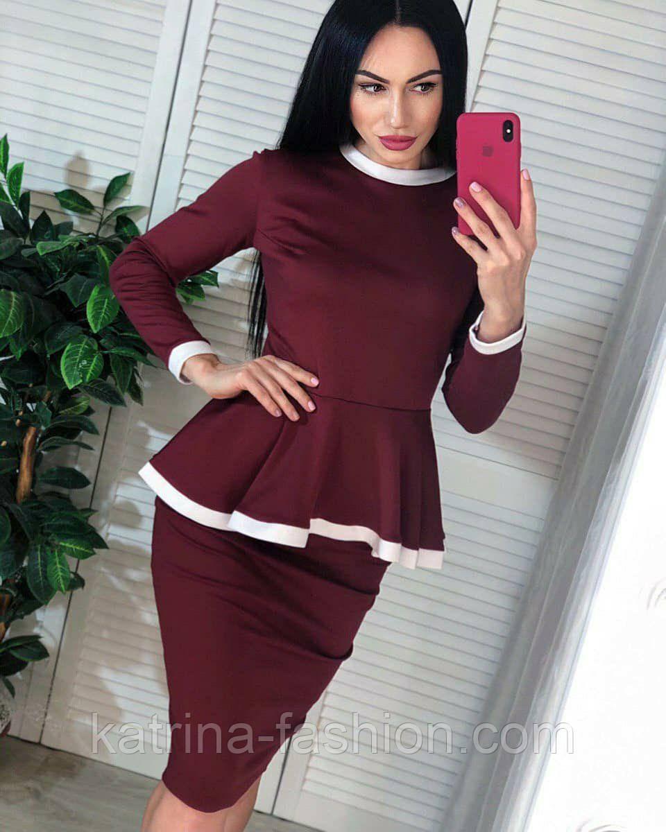 Женский костюм: кофта с баской и юбка-кардандаш (в расцветках)