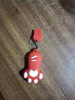 Флешка силиконовая 32гб кошачья лапка красная, фото 1