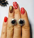 Сережки із золотом і чорним цирконом срібло Мей, фото 5