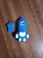 Флешка силіконова 32гб котяча лапка синя, фото 1