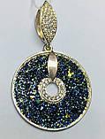 Круглый подвес с камнями Swarovski серебро с золотом Наоми, фото 2