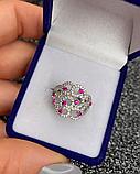 Серебряное родированное кольцо с розовым цирконом Наргиз, фото 5