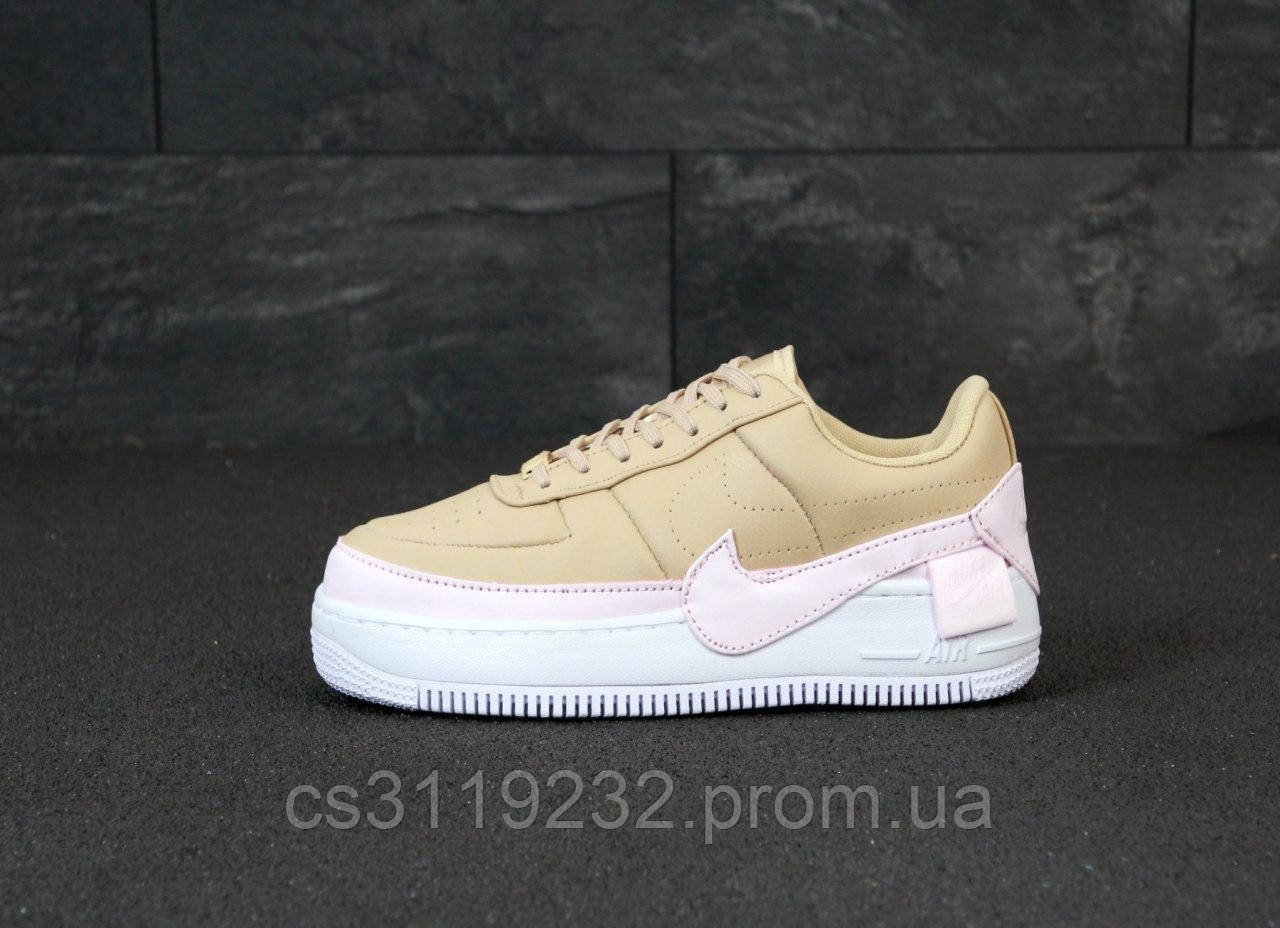 Женские кроссовки Nike Air Force 1 Low Jester Beige PInk White (бежево-розовые)