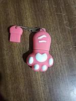 Флешка силиконовая 32гб кошачья лапка розовая, фото 1