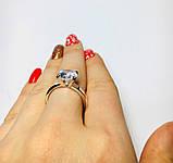 Серебряное кольцо с золотом и белым цирконом Диамант, фото 4