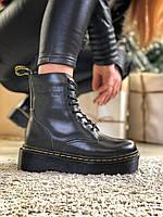 Женские ботинки зимние Dr Martens Jadon Black, доктор Мартинс жадон, черные с мехом.